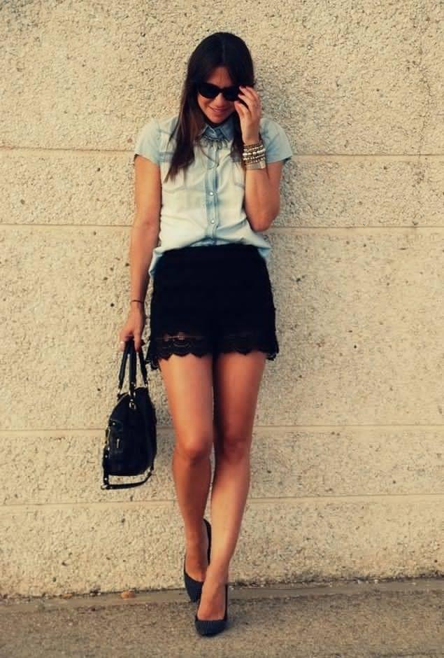 Blusas Jeans com shorts pretos