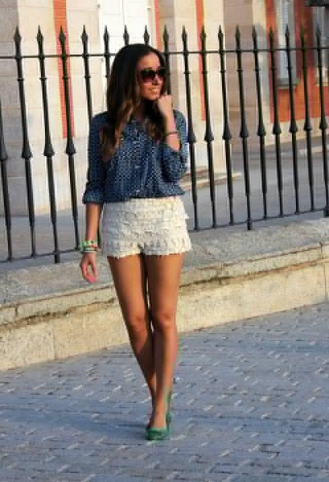 Blusa azul e branco Crochet Shorts