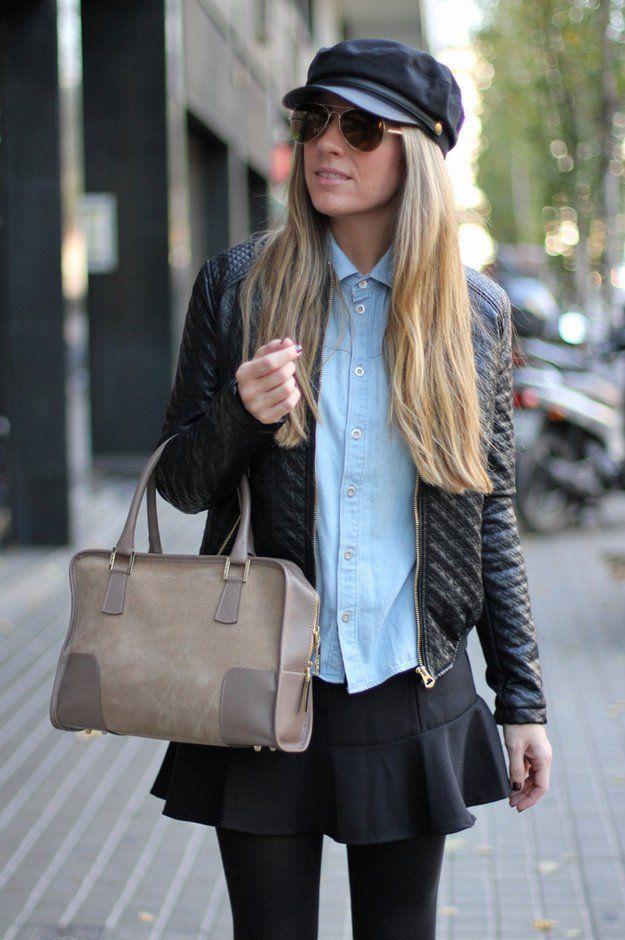 Trendy Idea queda roupa com jaqueta de couro e Denim Shirt
