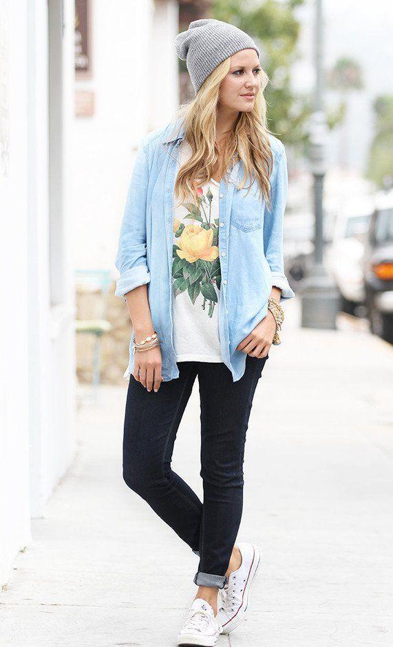 Idea Street Style Outfit com Denim Shirt