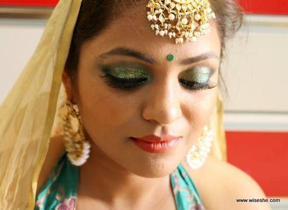 brilho verde dos olhos maquiagem dos olhos de noiva