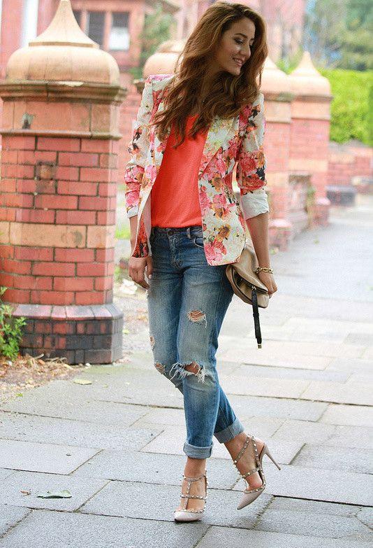 Roupas floral blazer para guarda-roupa das mulheres