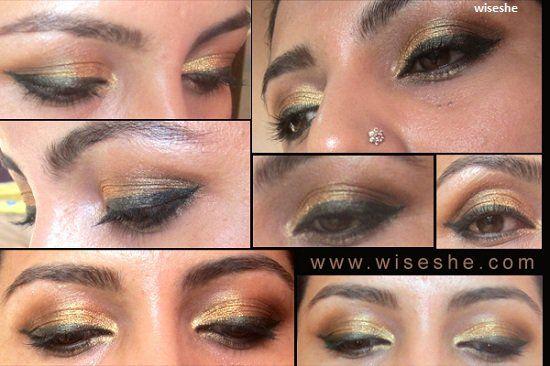 marrom dourado olhos indiano olho maquiagem tutorial + simples maquiagem dos olhos de ouro