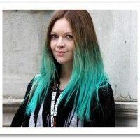 Longo Liso Penteado Dip-dye azul