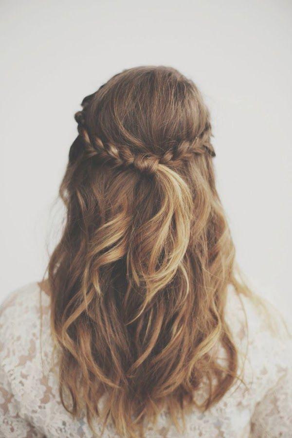 Penteados para todos os dias: metade do cabelo updo trança