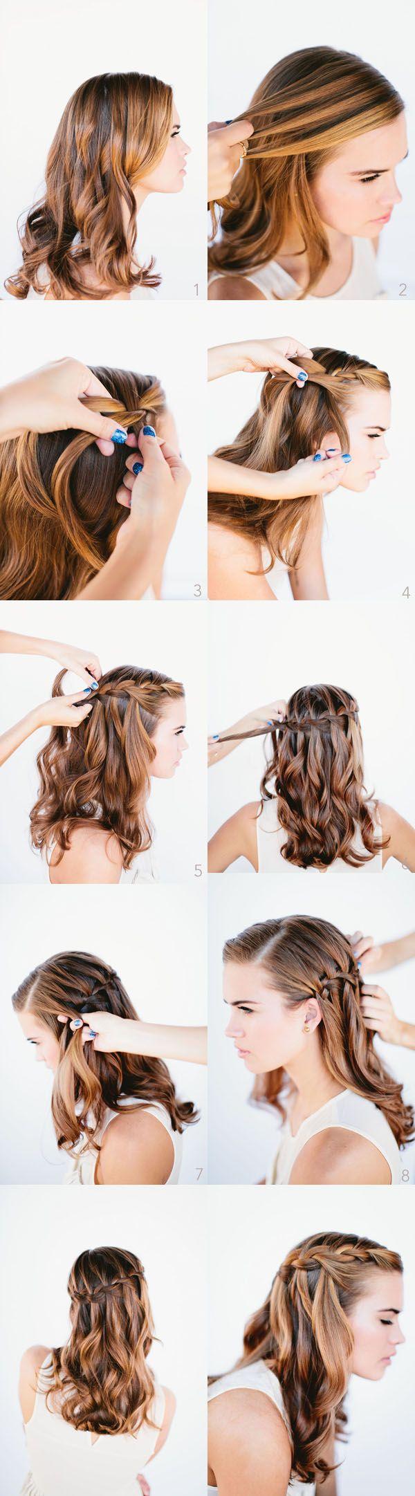 Cachoeira Braid para o cabelo longo