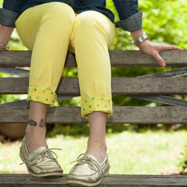 Jeans com impressos punhos