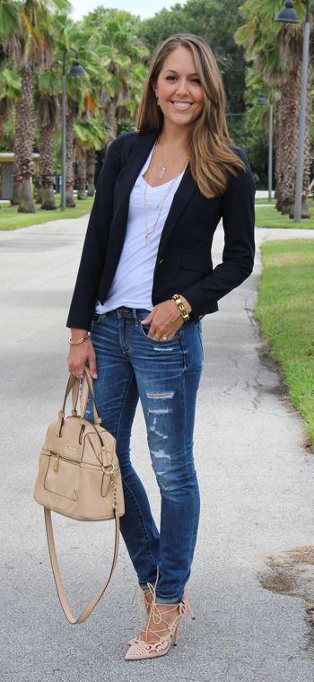 Blazer preto e Jeans