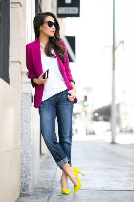Roxo Blazer e Jeans