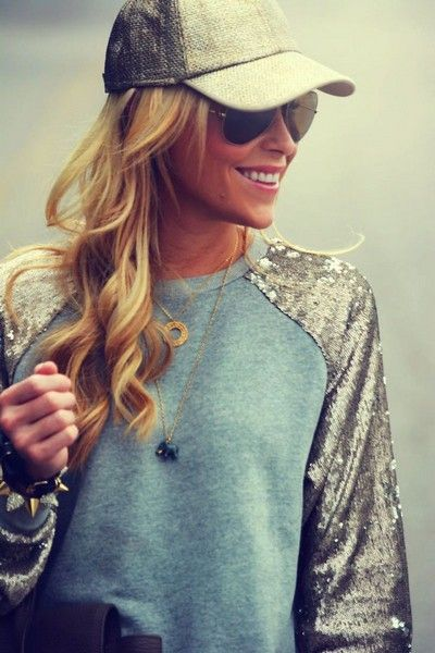 Rua Sporty Fashion Trend, camisola desportiva lantejoulas
