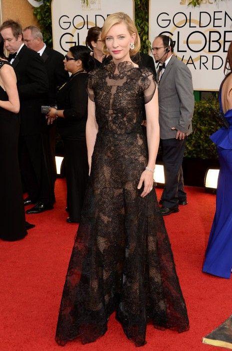 The Glamorous Golden Globe Style - vestido de renda preta Cate Blanchett Exquisite por Armani Privé