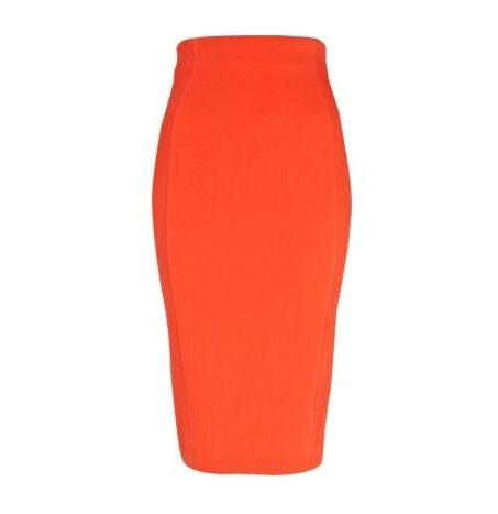 River Island equipado saia lápis na laranja da tangerina para jóia-tom ideias primavera roupa