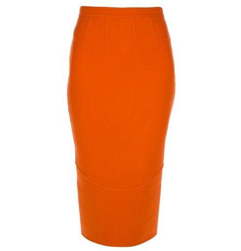 DSQUARED2 equipado saia lápis na laranja da tangerina para jóia-tom ideias primavera roupa