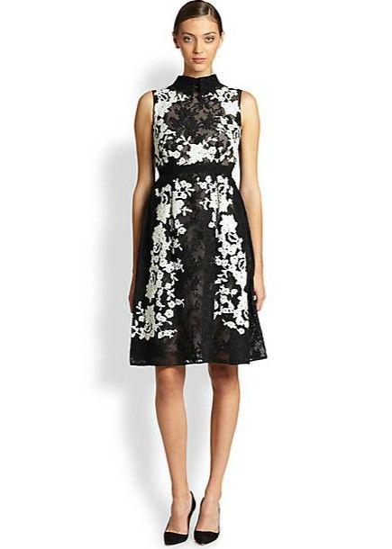 Saks Fifth Avenue Erdem bordado vestido de renda inverno branco