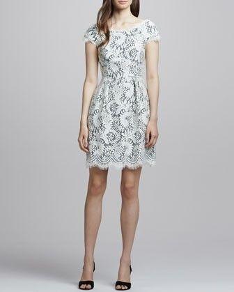 Shoshanna bordado vestido de renda inverno branco