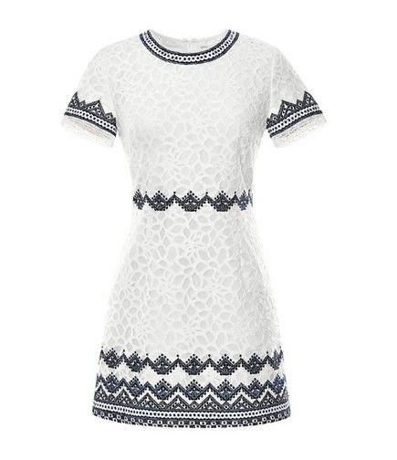 MODA OPERANDI bordado vestido de renda inverno branco