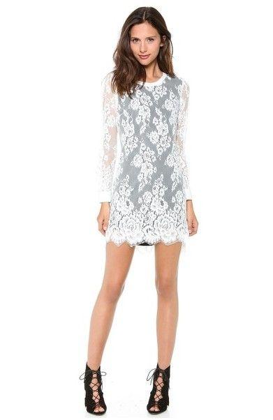 Pency vestido de renda Mudança inverno branco