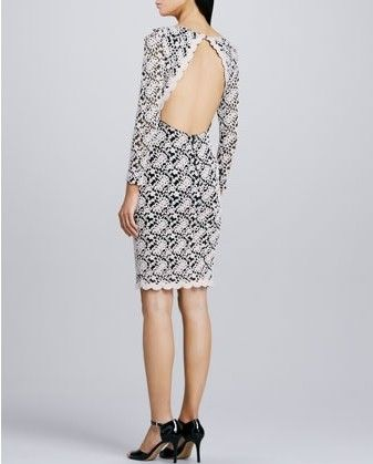 Alice Olivia bordado vestido de renda inverno branco