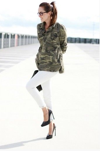 inspiração tendência militar para a camisa Primavera 2014- camo e jeans branco