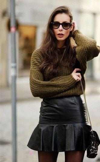 Idea Outfit militar para a Primavera de 2014, camisola militar e saia de couro preta
