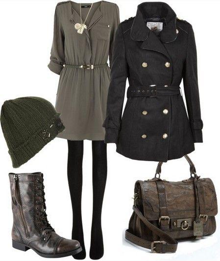 Idea Outfit militar para a Primavera de 2014, camisola verde oliva e peacoat