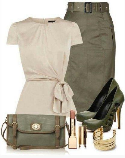 Idea Outfit militar para a Primavera de 2014, cobertura de marfim, vestido lápis e bombas