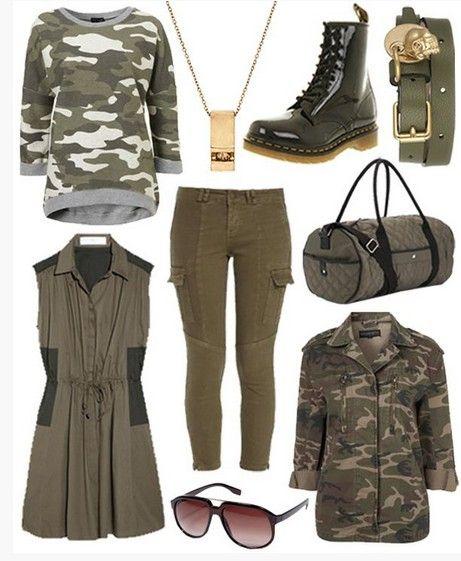 Idea Outfit militar para a Primavera de 2014, camo top de malha e botas meia panturrilha