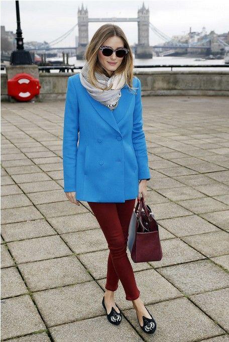 Como usar roupa azul olivia palermo na semana de moda de londres