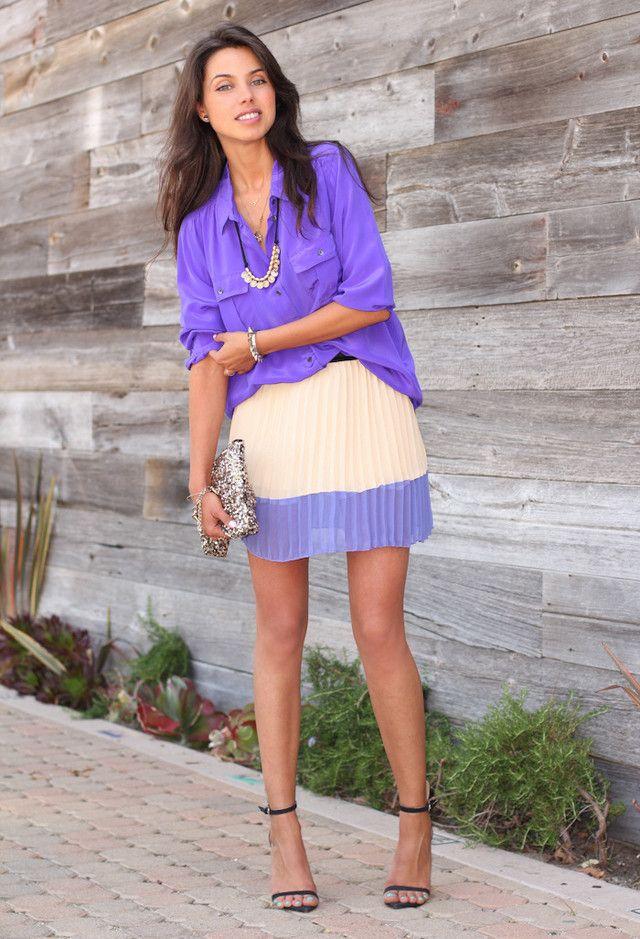 Saia plissada Outfit Idea para o verão