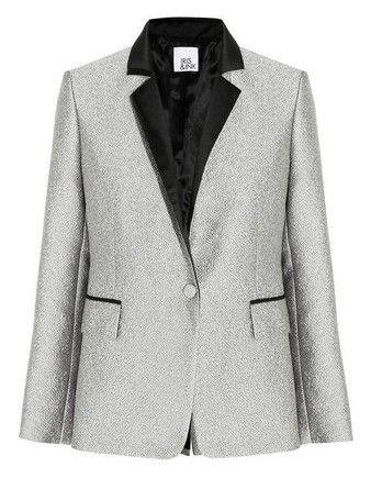 Iris & tinta metálica blazer jacquard, prata-Schoolboy Styling Truque para a Primavera de 2014