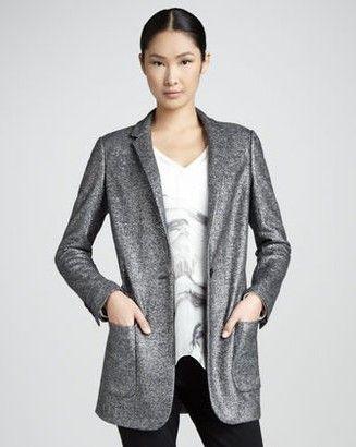 Magaschoni longo Shimmer Jacquard Blazer, prata-Schoolboy Styling Truque para a Primavera de 2014