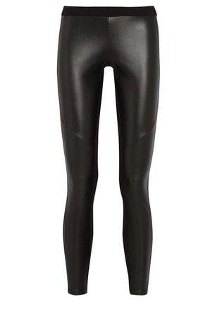 MICHAEL Michael Kors estiramento falso couro e jersey leggings, black-Schoolboy Styling Truque para a Primavera 2014