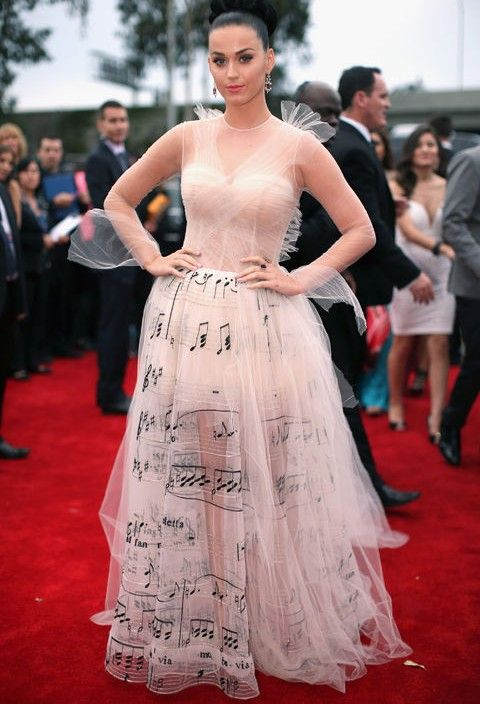 Katy Perry`s Meta Music-note-emblazoned Evening Dress by Valentino