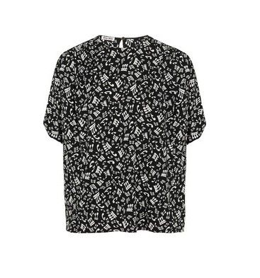 Miu Miu Music Note-Print Crepe Top