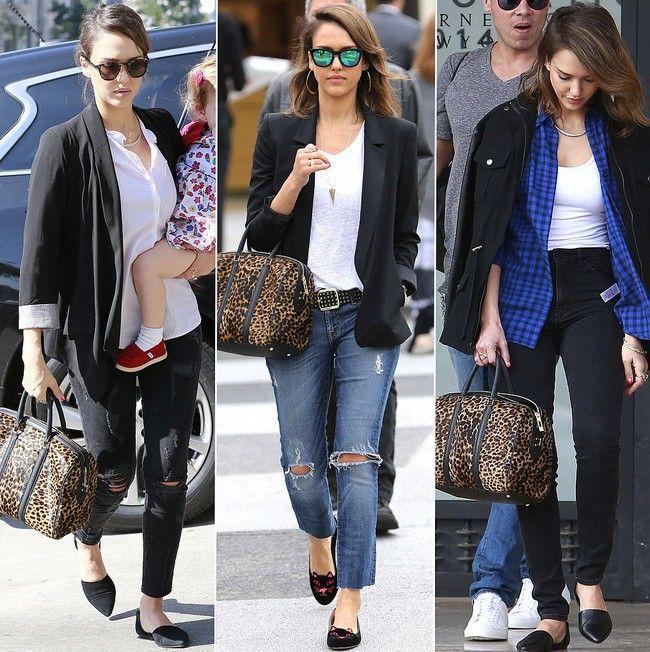 Jessica alba mostra-nos 3 maneiras de levar um saco de leopardo