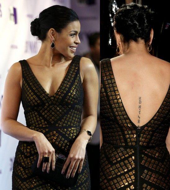 Jordin sparks `tatuagens - lettering tatuagem em coluna
