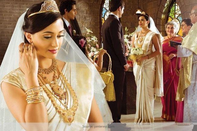 Kerala sarees casamento cristão