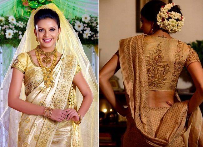 designs saree casamento cristão