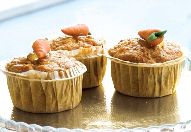Muffins de bolo de cenoura magra