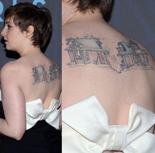 Tatuagens de lena dunham - tatuagem desenho artístico na parte superior das costas
