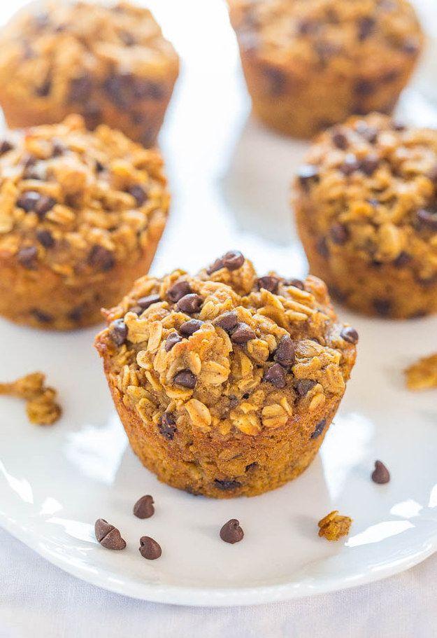 Oatmeal abóbora Choc Chip Muffins