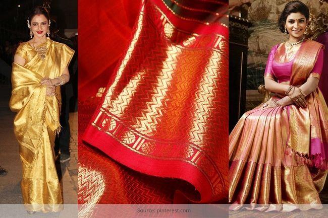 Faça a sua enxoval de noiva olhar rico em kanchipuram sarees noivas