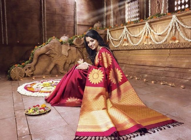 saris de seda Kanchipuram para o casamento