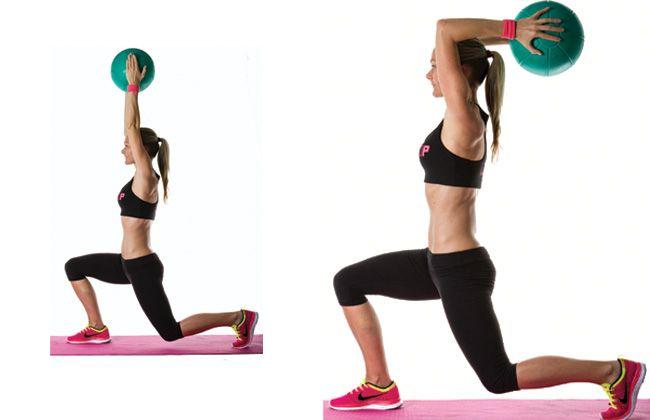 Medicine Ball Lunge com extensão de tríceps - Mulheres`s Health & Fitness