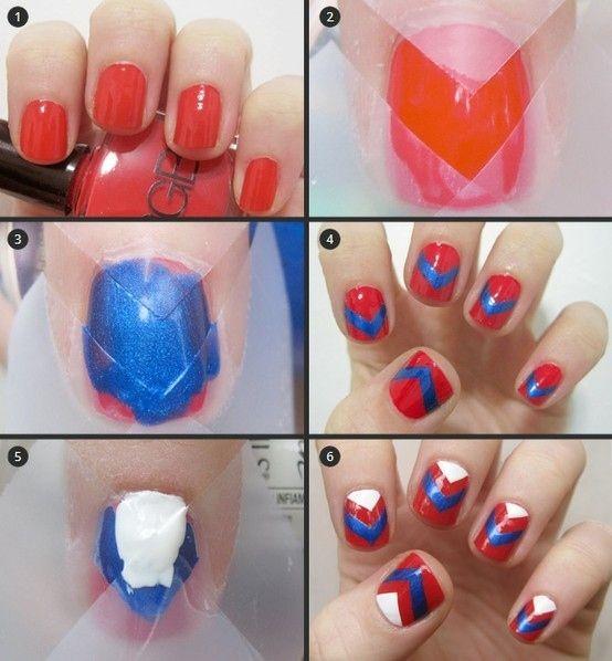 Branco Nails vermelho, azul e
