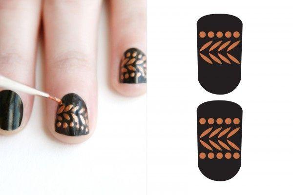 Nails preto e dourado