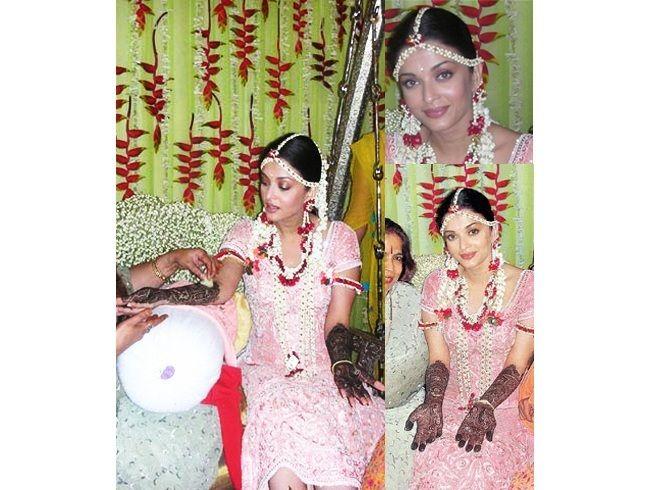 Aishwarya Rai em jóias floral para o mehndi