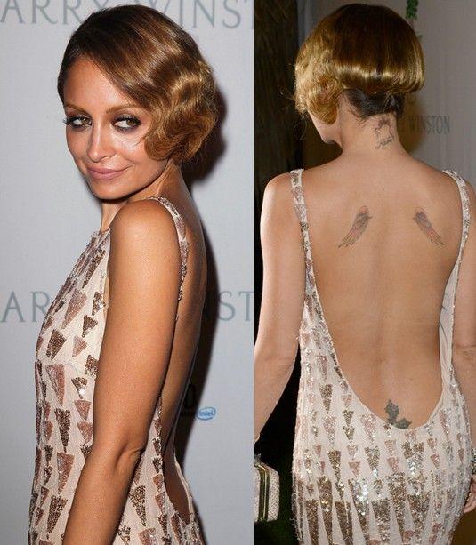 Nicole Richie` Tattoos - Upper Back Wings Tattoo
