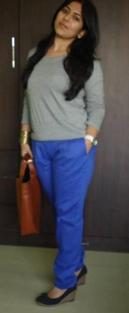 OOTD: Royal Blue plissadas Calças / sexta-feira do desgaste Trabalho