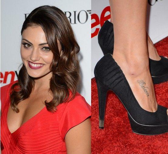 Phoebe Tonkin` Tattoos - Lettering Tattoo on Foot